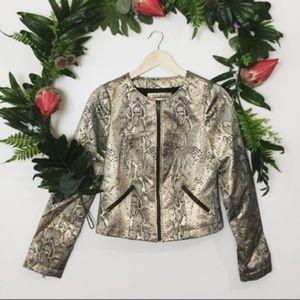 The Limited NWT snakeskin metallic jacket size XS